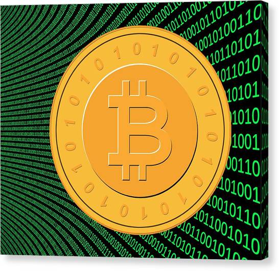 Currency Canvas Print - Bitcoin And Binary Code by Victor De Schwanberg