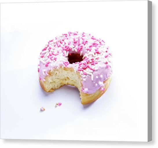 Doughnuts Canvas Print - Bitten Doughnut by Cordelia Molloy/science Photo Library
