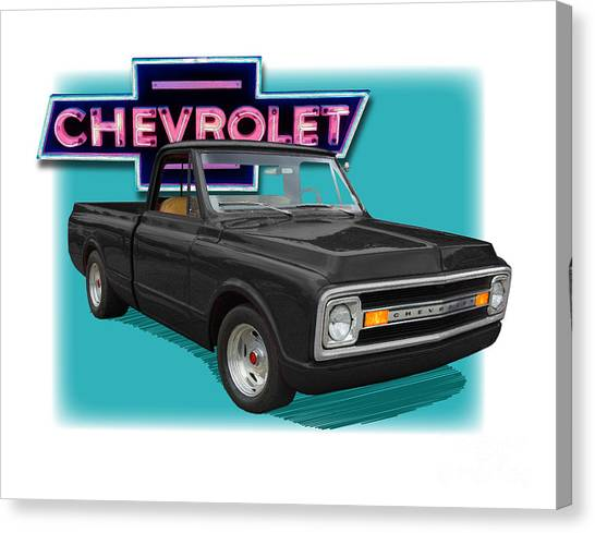Black 1969 Chevy Pu 1969  Canvas Print by Dan Knowler