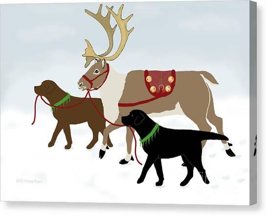 Black And Chocolate Labs Lead Reindeer Canvas Print