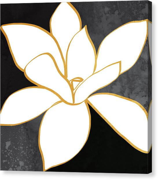 Gold Canvas Print - Black And Gold Magnolia- Floral Art by Linda Woods