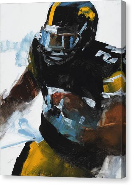 Running Backs Canvas Print - Black And Gold by Stan Fellows