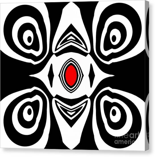 Abstract Black White Red Art No.213 Canvas Print by Drinka Mercep