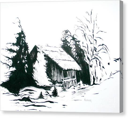 Black And White Barn In Snow Canvas Print
