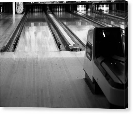 Bowling Alley Canvas Print - Black And White Bowling Alley by Dan Sproul