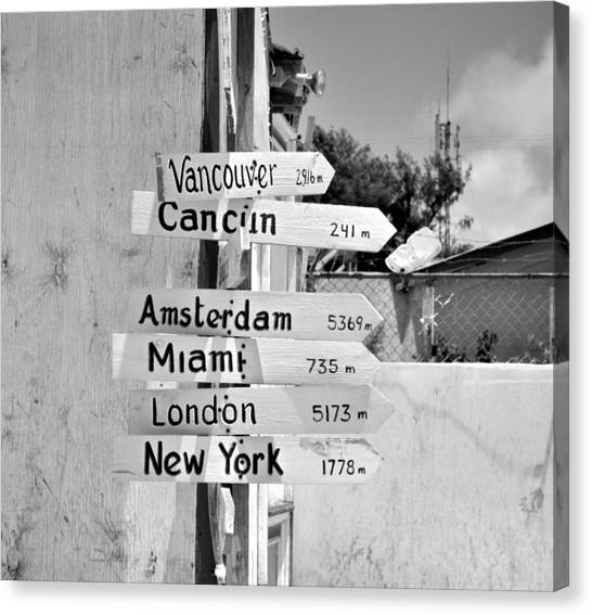 Black And White Directional Sign Canvas Print
