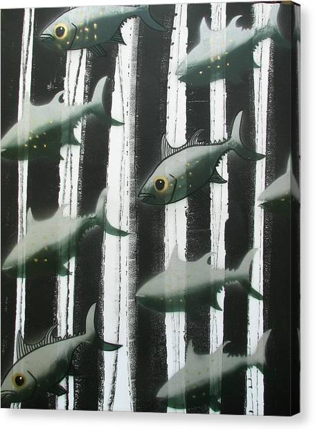 Canvas Print - Black And White Fish by Joan Stratton
