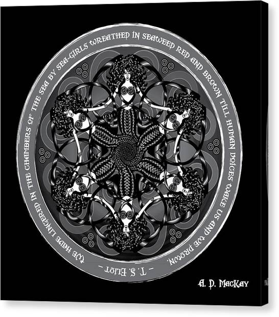 Black And White Gothic Celtic Mermaids Canvas Print