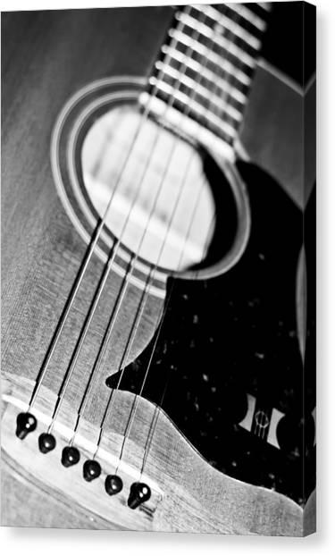 Black And White Harmony Guitar Canvas Print