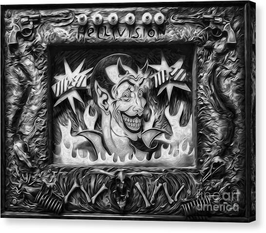 Black And White Hellivision Canvas Print by Gregory Dyer
