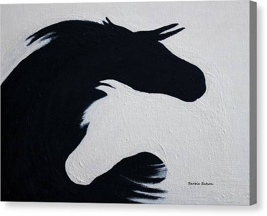 Black And White Horses Together Forever Canvas Print
