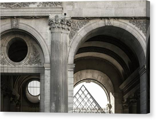 Le Louvre Canvas Print - Black And White Image Of Architectural by Philippe Widling