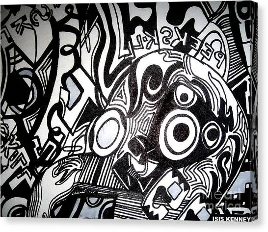 Black And White Line Drawing Canvas Print by Isis Kenney