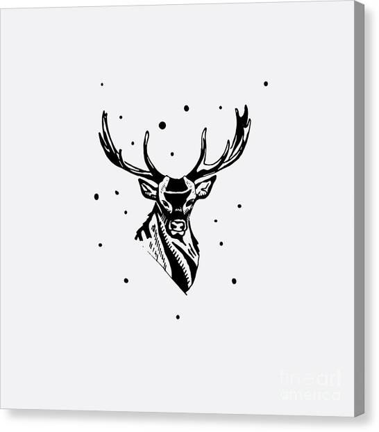 T Shirts Canvas Print - Black And White Monochrome Emblem by Kbibibi