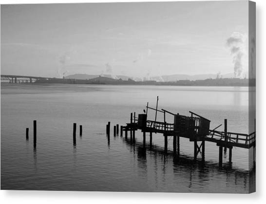 Black And White Oakland Bay Canvas Print