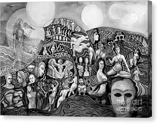 Black And White Of A Season Of Women Canvas Print