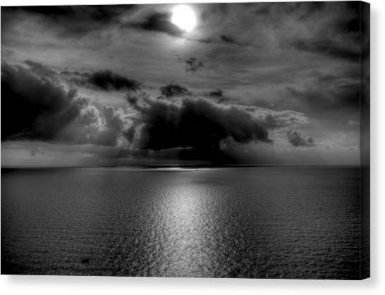 Black And White Of The Med Canvas Print