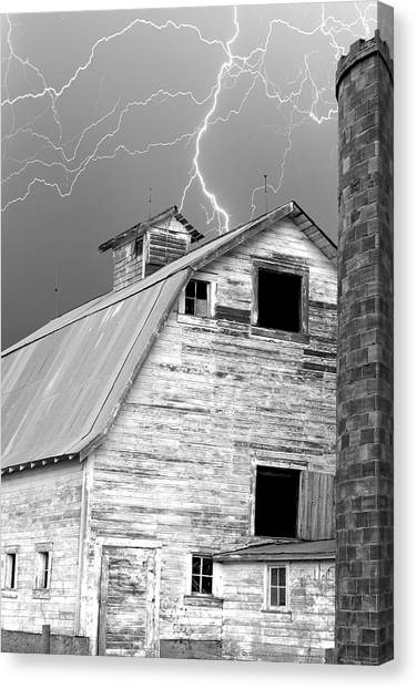 Black And White Old Barn Lightning Strikes Canvas Print