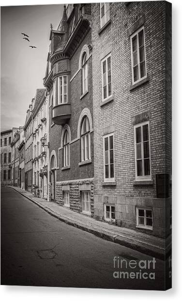 Quebec Canvas Print - Black And White Old Style Photo Of Old Quebec City by Edward Fielding