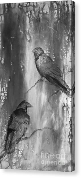 Black And White Ravens Canvas Print