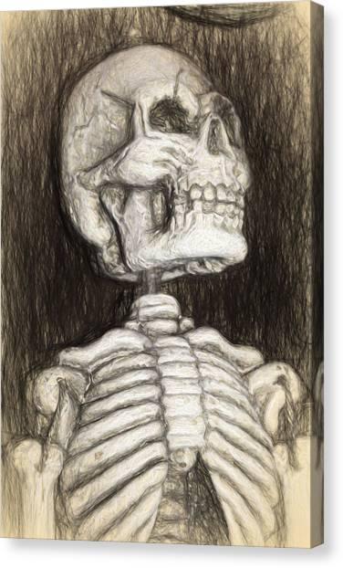 Black And White Skeleton Canvas Print