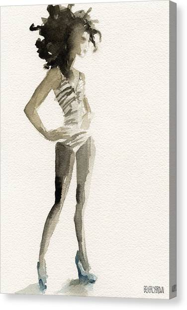 Black And White Stripes 3 Watercolor Fashion Woman Art Print Canvas Print by Beverly Brown