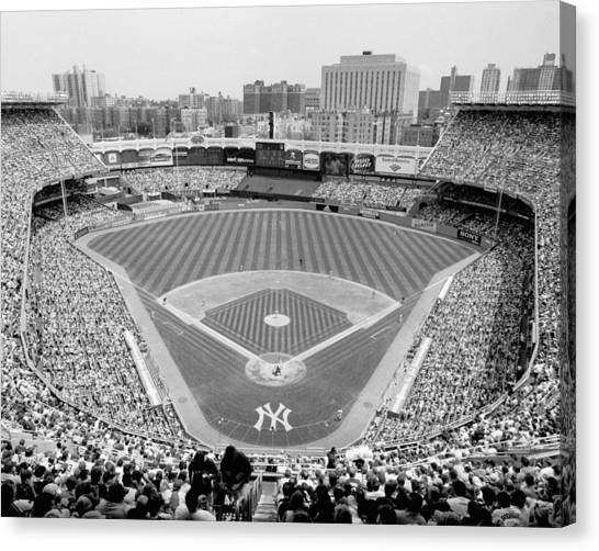 New York Yankees Canvas Print - Black And White Yankee Stadium by Horsch Gallery