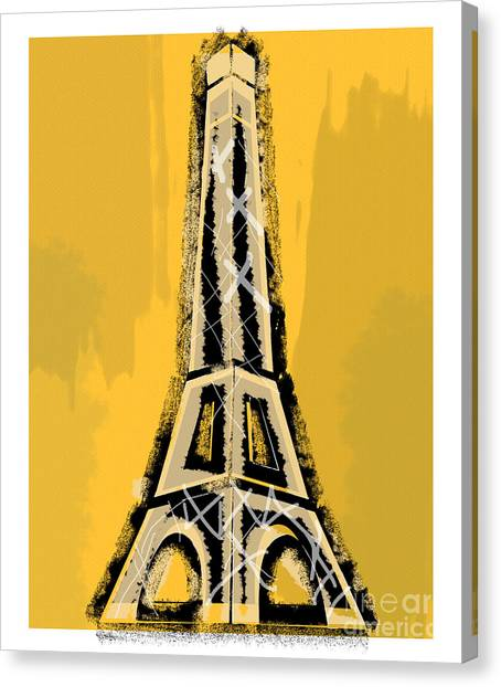 Black And Yellow Eiffel Tower Paris Canvas Print