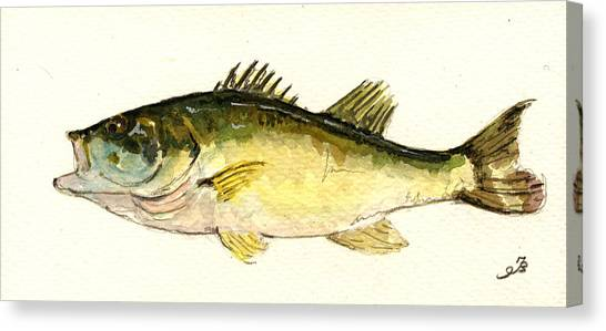 Smallmouth Bass Canvas Print - Black Bass Fish by Juan  Bosco