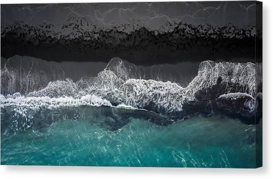 Black Sand Canvas Print - Black Beach by Marcus Hennen