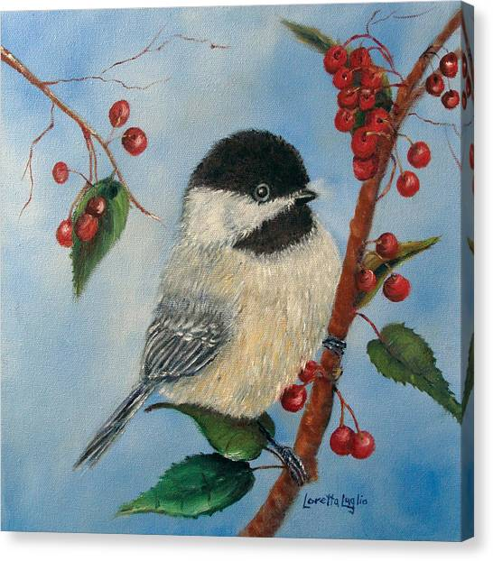 Black Capped Chickadee And Winterberries Canvas Print