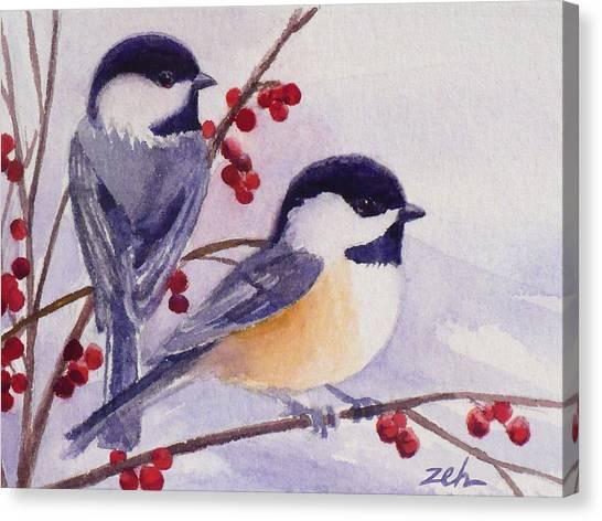 Black-capped Chickadees Canvas Print