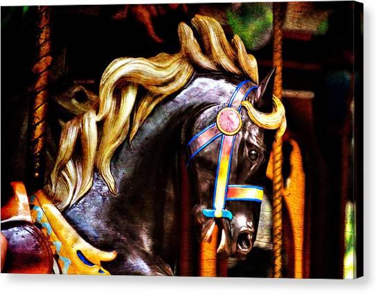 Black Carousel Horse Canvas Print