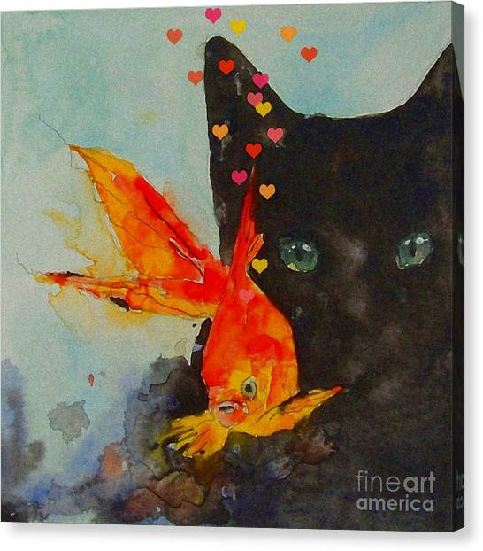 Kittens Canvas Print - Black Cat And The Goldfish by Paul Lovering