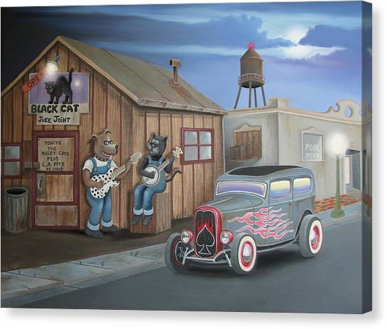 Black Cat Juke Joint Canvas Print
