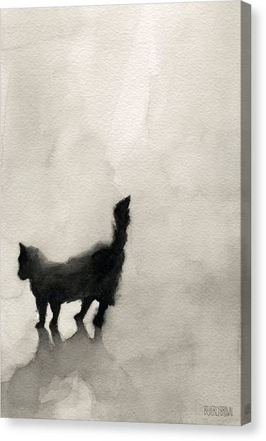 Black Cat Watercolor Painting Canvas Print