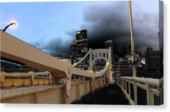 Black Cloud Over The City Canvas Print