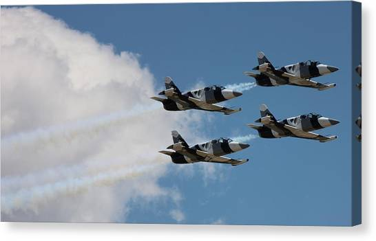 Black Diamond L-39s In Flight Canvas Print