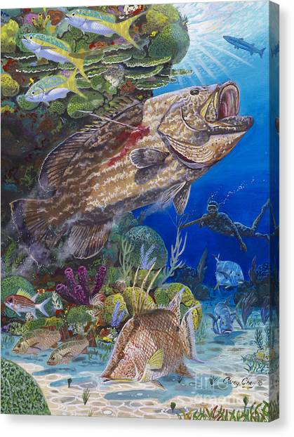 Spearfishing Canvas Print - Black Grouper Hole by Carey Chen