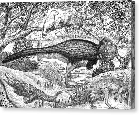 Pen And Ink Drawing Canvas Print - Black Ink Drawing Of Extinct Animals by Vladimir Nikolov
