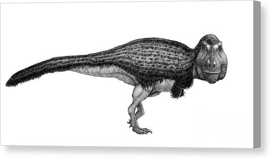 Pen And Ink Drawing Canvas Print - Black Ink Drawing Of Tyrannosaurus Rex by Vladimir Nikolov