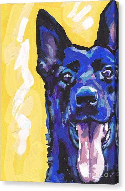 German Shepherds Canvas Print - Black Is Black by Lea S