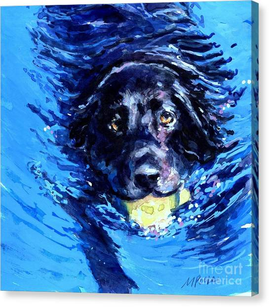 Tennis Ball Canvas Print - Black Lab  Blue Wake by Molly Poole