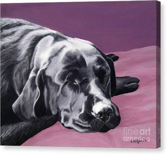 Black Labrador Beauty Sleep Canvas Print