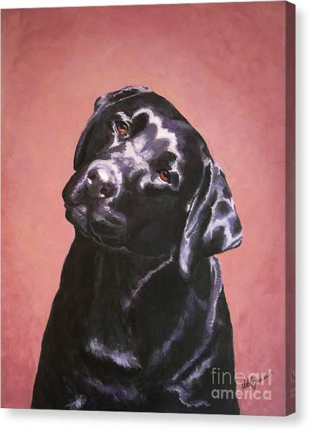 Black Labrador Portrait Painting Canvas Print