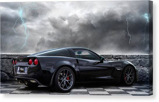 American Muscle Canvas Print - Black Lightning by Peter Chilelli