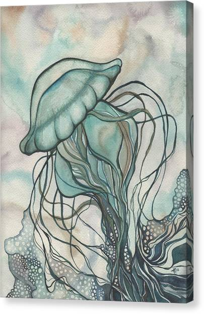 Ivory Canvas Print - Black Lung Green Jellyfish by Tamara Phillips
