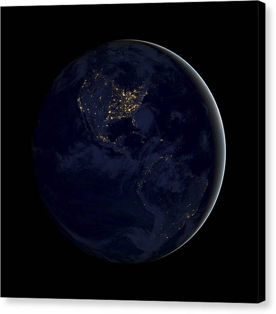 Satellite Canvas Print - Black Marble by Adam Romanowicz