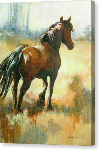 Draft Horses Canvas Print - Black Mare In Summer by Tracie Thompson