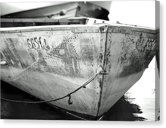 Black N White Row Boat Canvas Print by Thomas Fouch